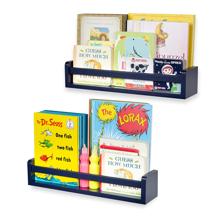 brightmaison Children's Wall Shelves – 2 Shelf Set - Wood Bookcase Toy Game CDs Storage Display Organizer – Bookshelves for Kids Room - Ships Fully Assembled (Navy Blue)
