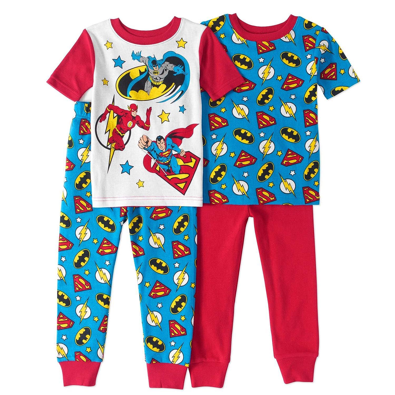 AME Justice League Little Boys Toddler 4 Pc Cotton Pajama Set