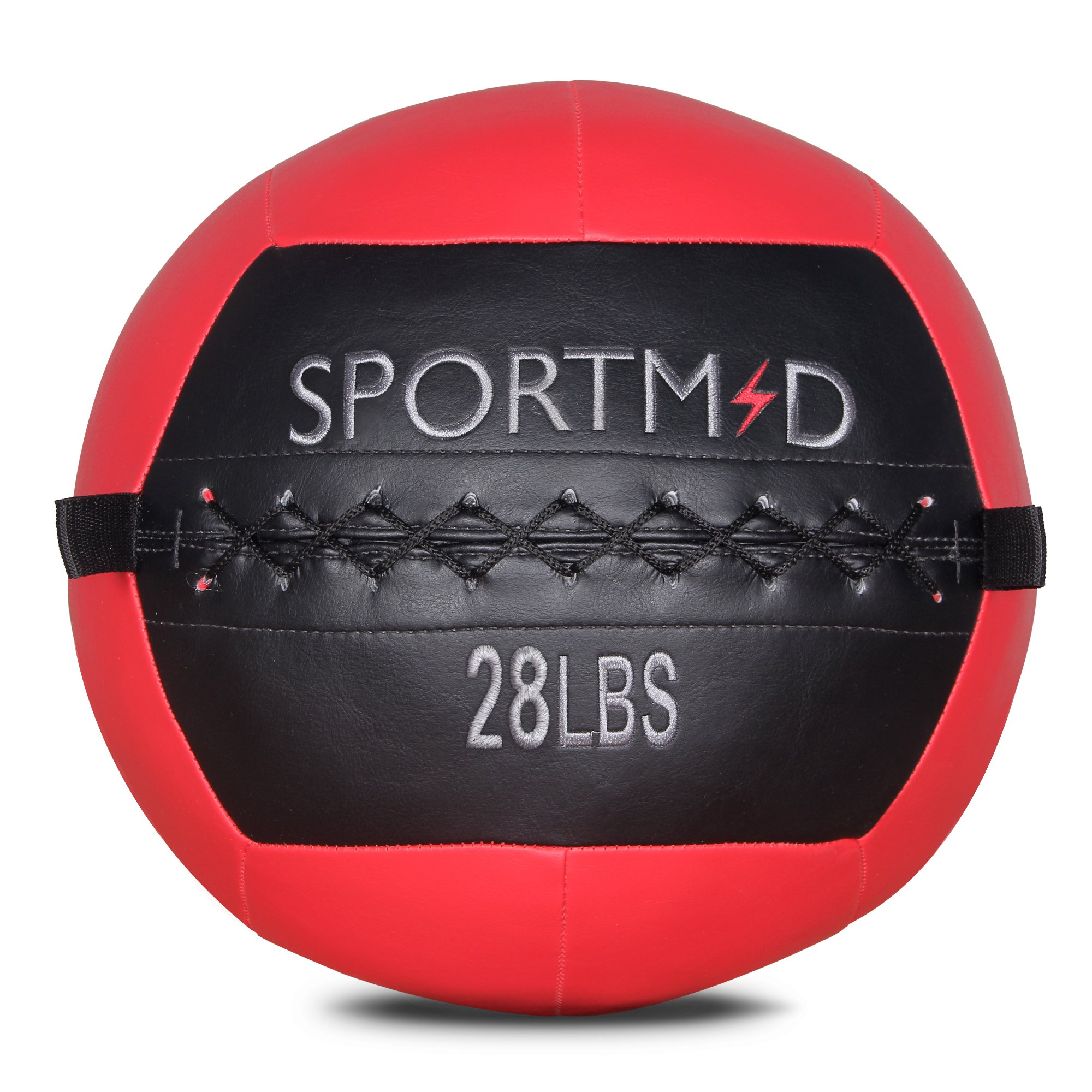 Sportmad Medicine Ball Wall Ball Soft Exercise Ball Heavy Duty Strength and Conditioning Cardio Workouts Core Training Muscle Building Balance 28 LBS (Red)
