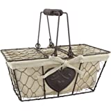 Stonebriar Farmhouse Metal Chicken Wire Picnic Basket with Hinged Lids, Handles, and Heart Detail, Country Cottage Home Decor, Decorative Home Storage