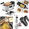 Aigostar Deep Fryer, 3 Liters Capacity Oil Frying Pot with View Window, 1650W Ushas, 6 Speed Hand Mixer Electric 250W Powerfu
