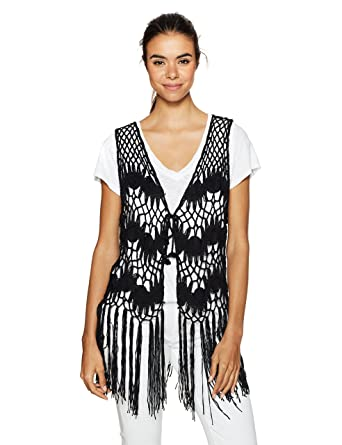 Steve Madden Womens Crochet Clover Vest Black One Size At Amazon