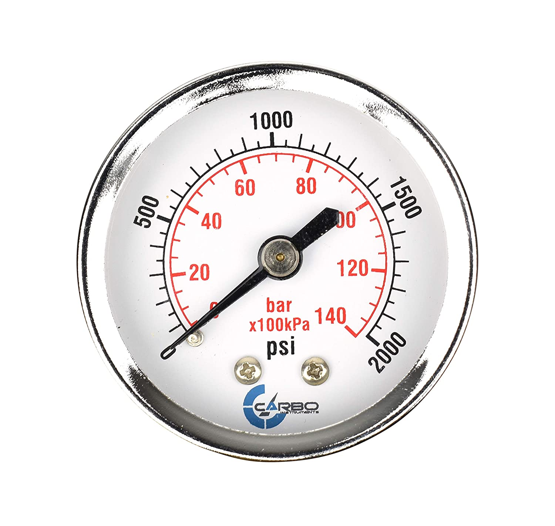 Chrome Plated Steel Case CARBO Instruments 2 Pressure Gauge Back Mount 1//4 NPT 0-2000 psi//kPa Dry