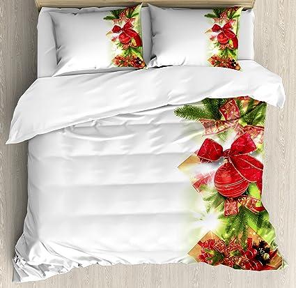 Amazoncom Ambesonne Christmas Duvet Cover Set King Size Classical