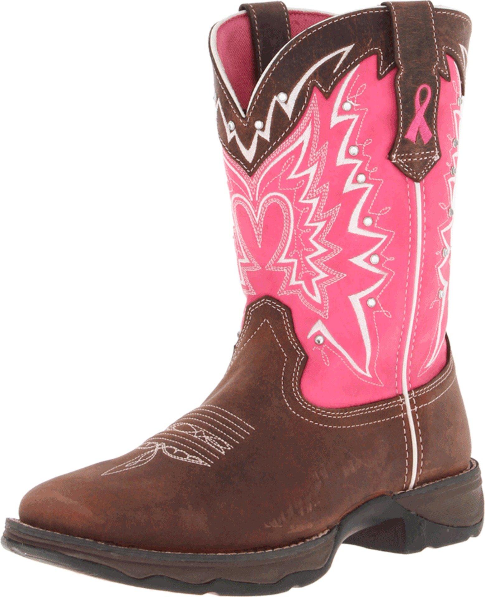 Durango Lady Rebel 10 Inch Pull-on RD3557 Western Boot,Dark Brown/Pink,7.5 M US