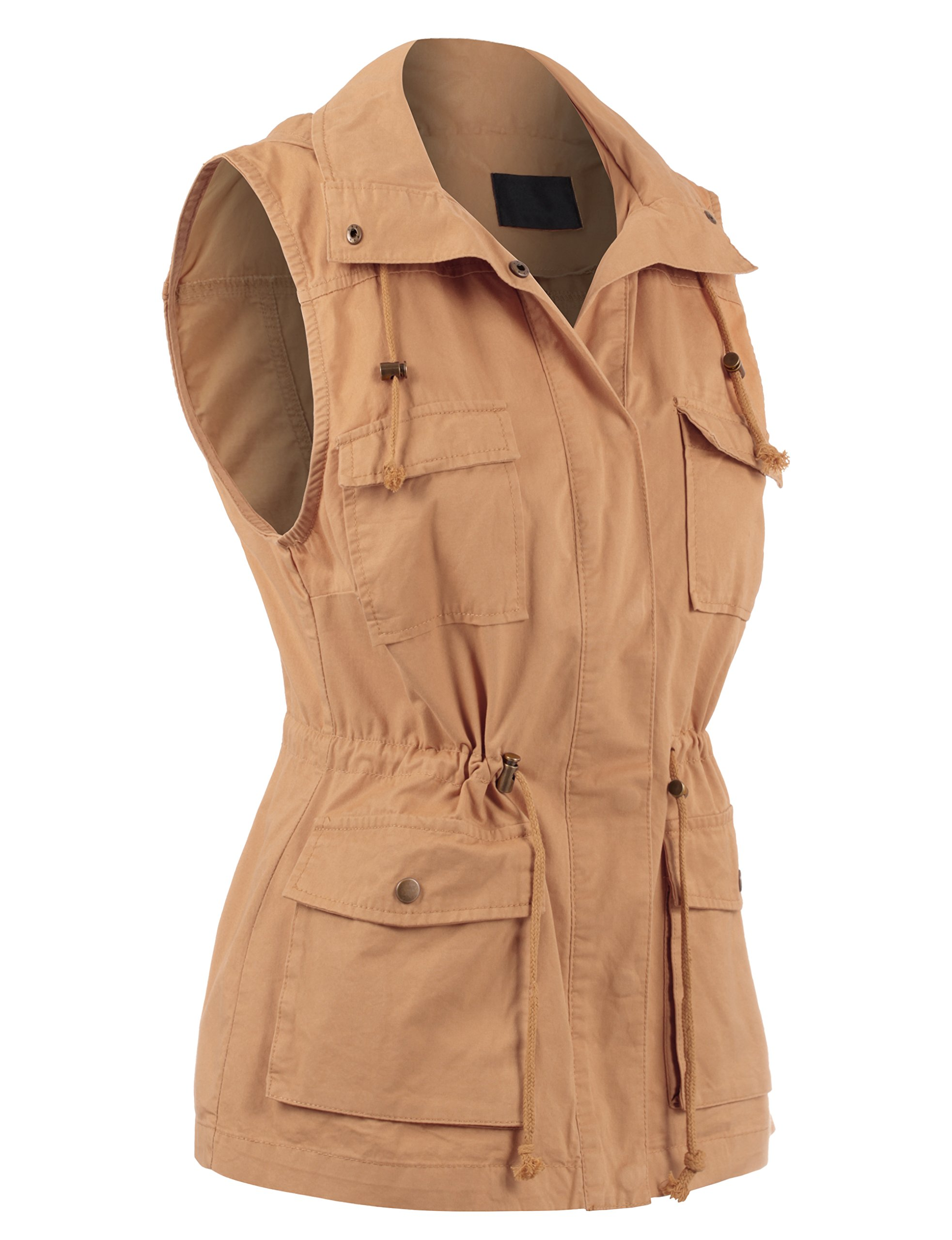 BEKTOME Womens Solid Sleeveless Military Anorak Utility Vest-M-Taupe