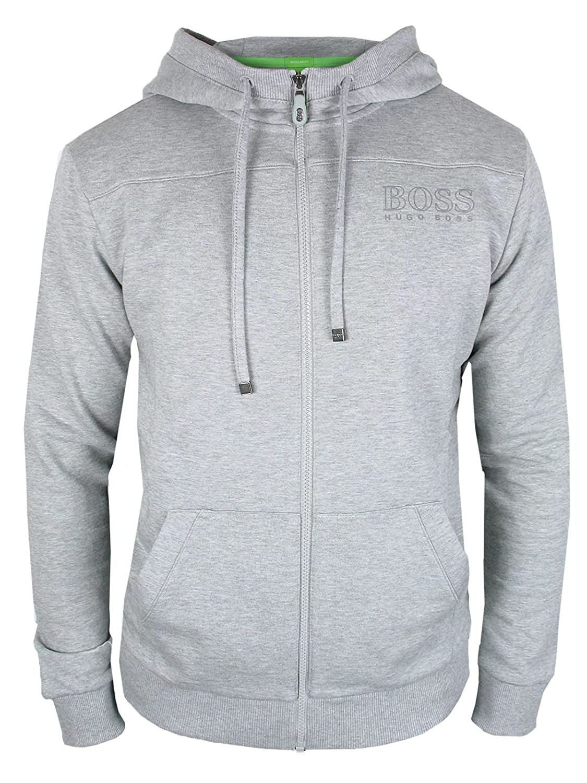 BOSS Hugo Grün Herren& 039; Saggy & 039;Reißverschluss Logo Kapuzenpullover