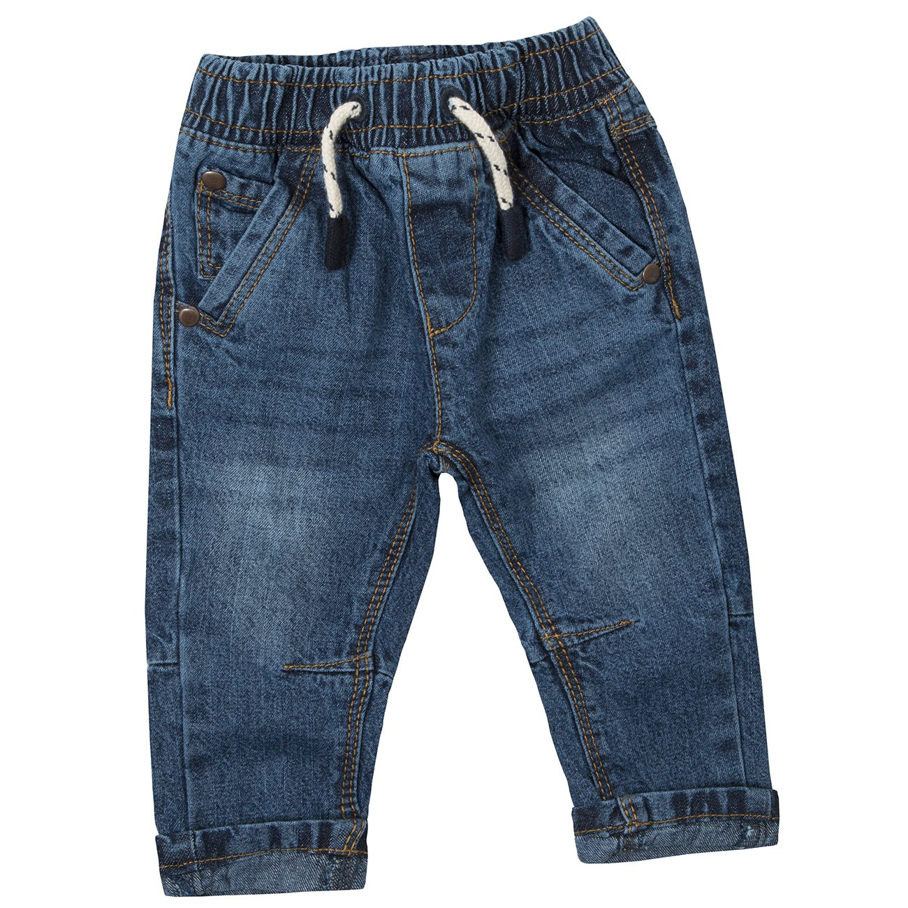 Baby Town Baby Boys 100/% Cotton Demin Jeans with Pockets and Elasticated Waistband