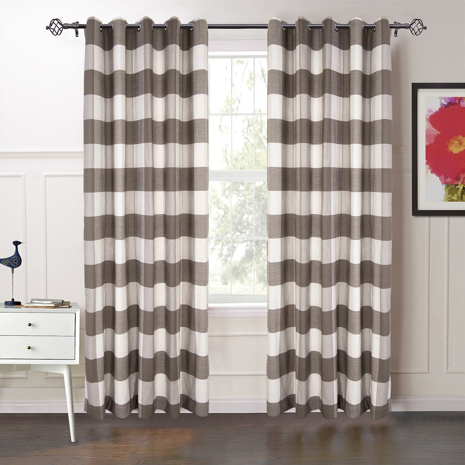 "MICHELE HOME FASHION 42"" W x 102"" L 20 (Set of 2 Panels) Custom 70% Blackout Striped Plaid Gingham Curtain Dark Brown Grommet Top Curtain for Kitchen,Bathroom,and Bedroom"