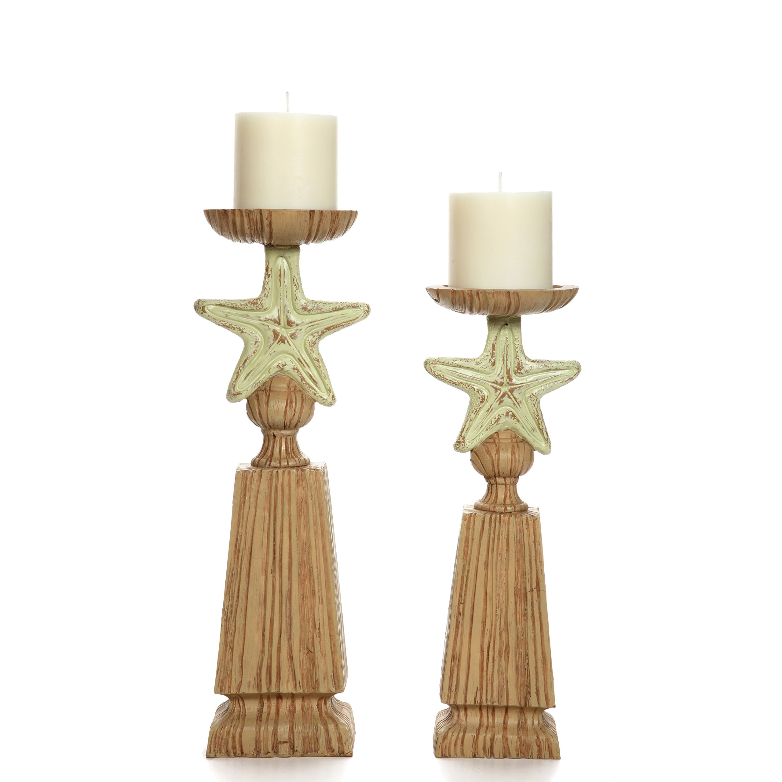 Hosley Set of 2 Nautical LED Candle Pillar Holder, 14'' & 12'' High, Resin. Ideal Gifts for Den, Dorm, Wedding, Party, Home/Office, Spa, Aromatherapy, Pillar/Votive Candle Gardens P2