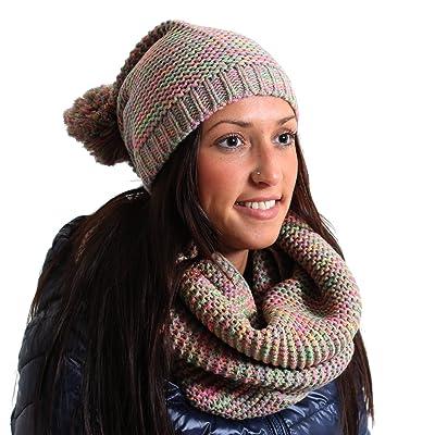 4fbe8f16fb7 Brubaker Set Femme Femme Écharpe + bonnet en tricot bonnet à pompon ...
