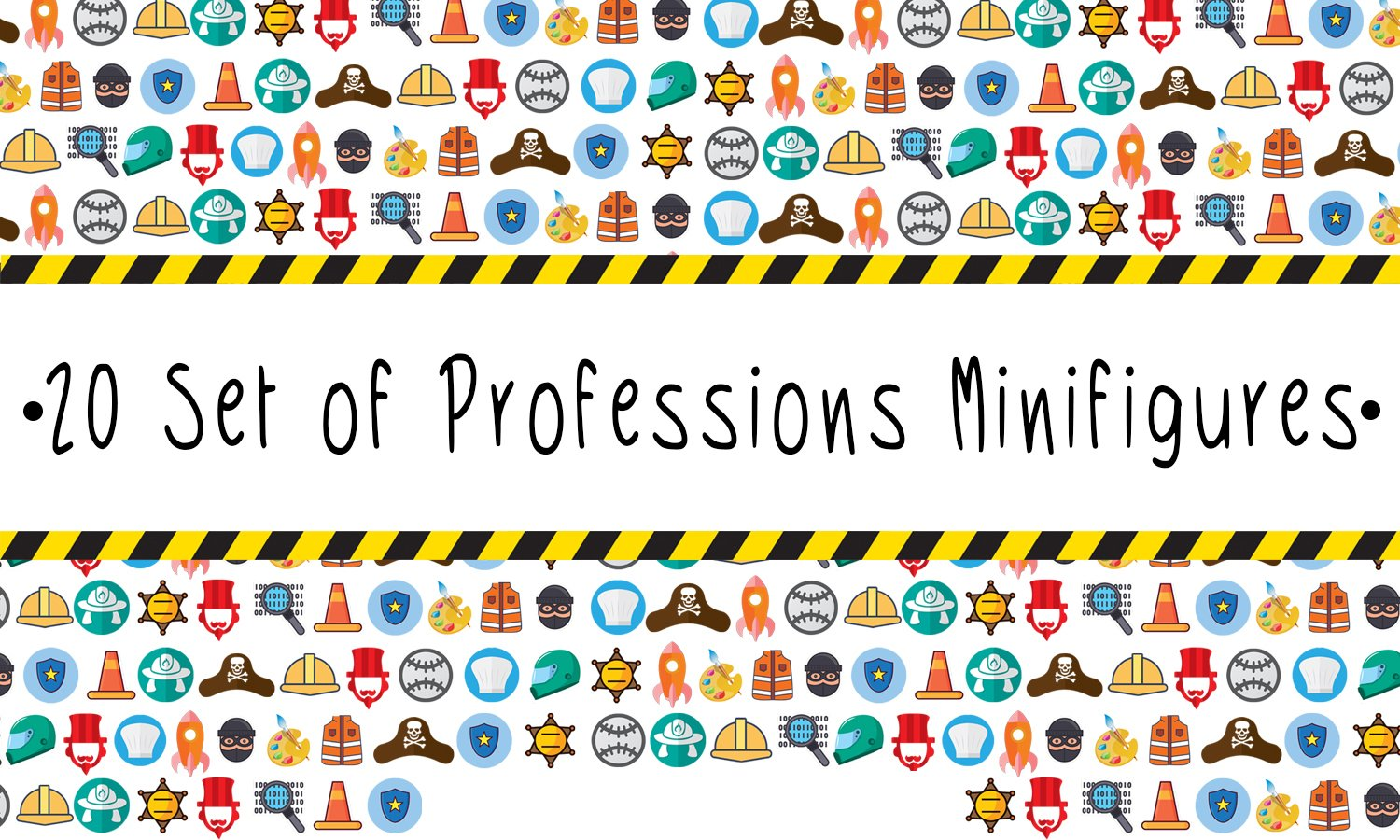 Kid\'s Corner Productions 20 Set Of Professions Action Mini Figures Toy | Kids Party Favor Goodies Bags | Best Gift For Birthdays | Special Collection Includes - Policeman, Fireman, Race Driver & More