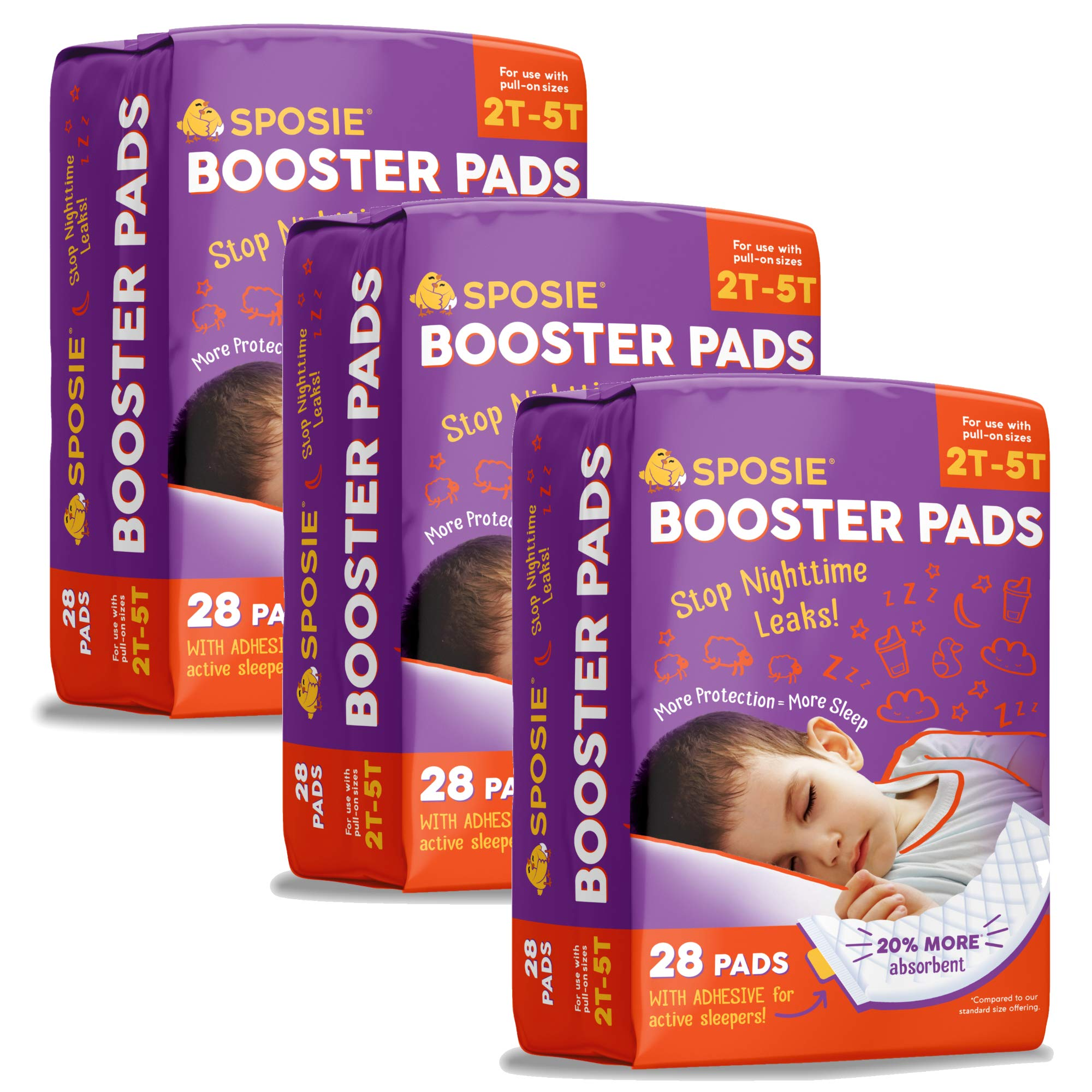 Sposie Adhesive Overnight Baby Diaper Booster Pads/Doublers | 84 ct. 3 Packs of 28 Insert-Pads | Adhesive Strip for Regular & Pull-On Diapers, Disposable, Nighttime Protection for Infant Boys & Girls by Select Kids