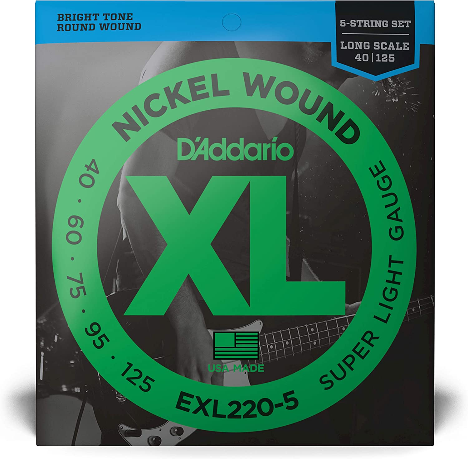 Medium  Scale Super Light D/'Addario Nickel Wound Bass Guitar Strings 40-95