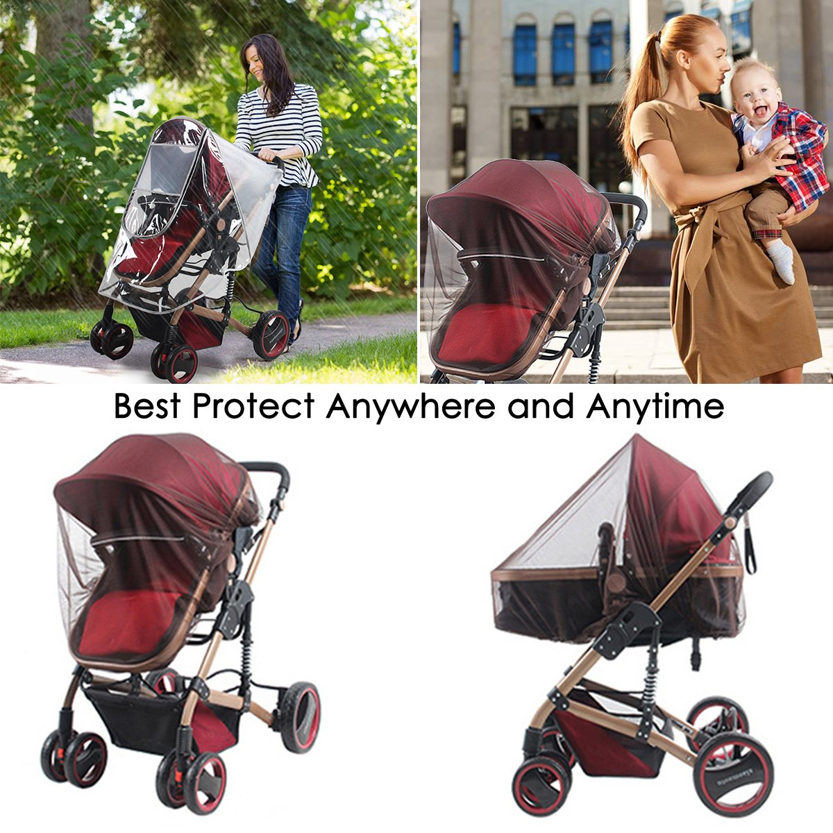 Polishing Cover /& Zipper Windproof Protection Baby Stroller Rain Cover Mosquito Net for Outdoor Indoor Yinuoday Baby Stroller Rain Cover and Mosquito Net Weather Shield Universal Waterproof