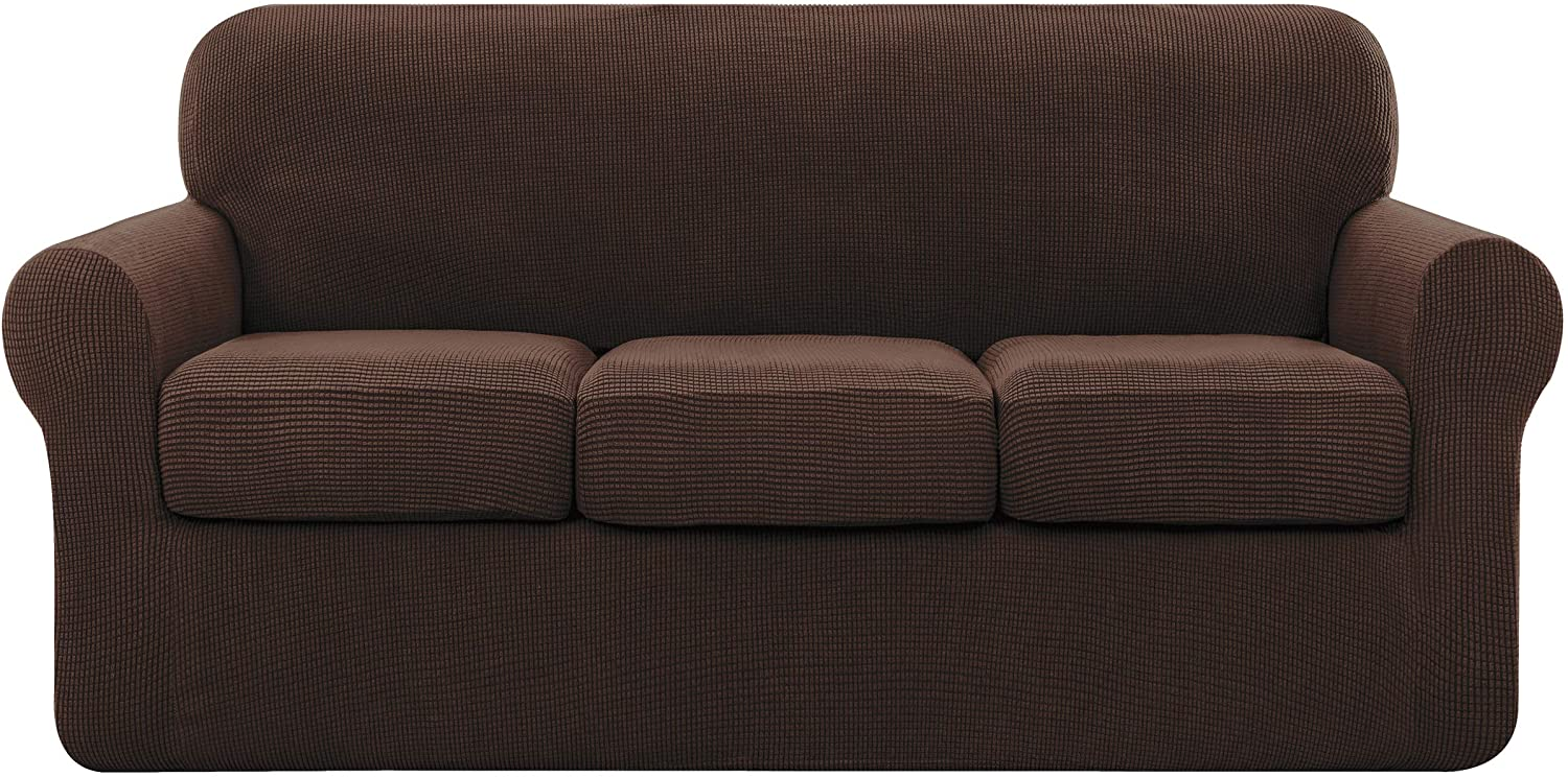 subrtex Sofa Cover High Stretch Couch Slipcover with Separate Cushion Couch Cover Soft Loveseat Slipcover Furniture Protector Machine Washable(Chocolate,Large)