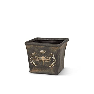 """Abbott Collection 27-SHADOW/8073 Sm Dragonfly Crest Planter-4"""" Sq, Charcoal : Garden & Outdoor"""