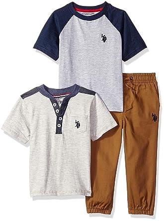 7e95bc56b Amazon.com  U.S. Polo Assn. Boys  T-Shirt and Pant 3 Piece Set  Clothing