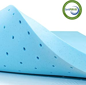 subrtex 3 Inch Gel-Infused Memory Foam Cooling Bed Pad with Ventilated Design for Pressure Relieving RV Mattress Topper Protector Pad-10 Years Warranty, Full, Blue