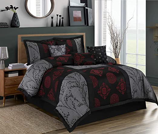Amazon.com: HIG 7 Piece Comforter Set King Gray and Red Jacquard
