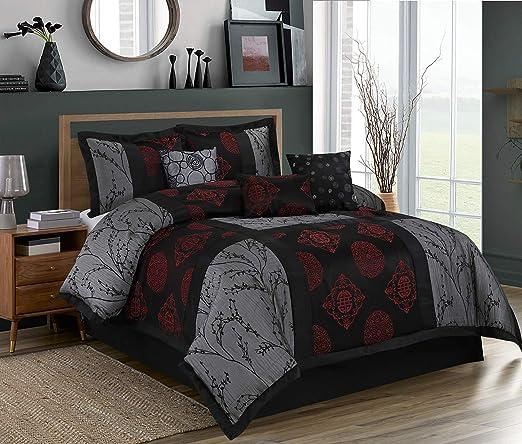 Amazon.com: HIG 7 Piece Comforter Set Cal.King Gray and Red