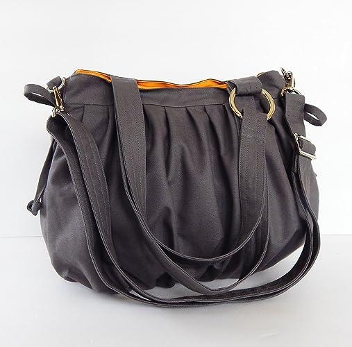 Amazon.com: Virine canvas pleats bag, purse, tote, shoulder bag ...