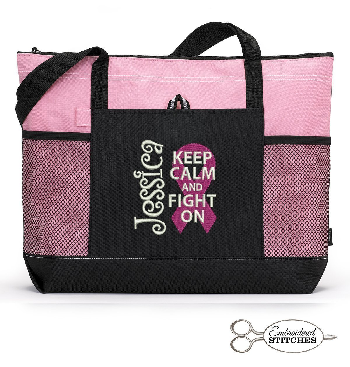 Breast Cancer Awareness Personalized Embroidered Tote Bag with Mesh Pockets