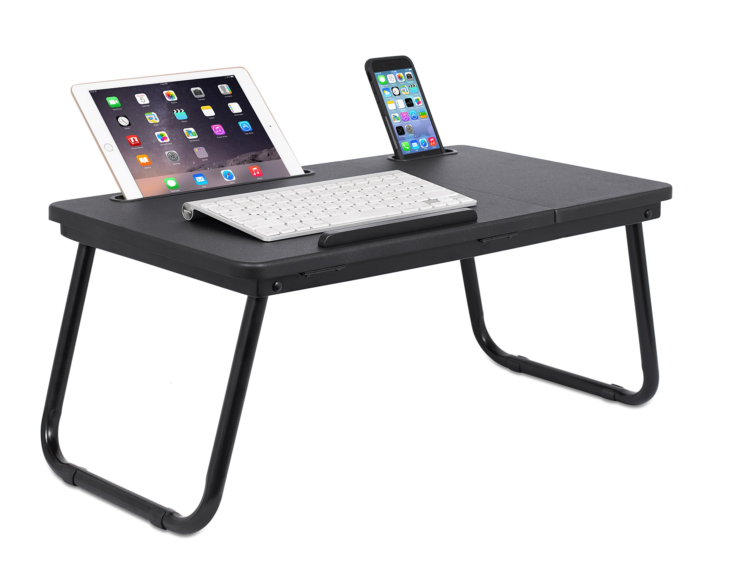Sofia + Sam Lap Tray with Tablet & Phone Slots | Metal Folding Legs | Lap Desk with Tilting Top | Laptop Stand | Breakfast Serving Bed Tray | Black by Sofia + Sam