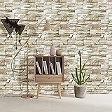 HaokHome 13991 石の壁のレンガ 壁紙 ステッカー 防水 ライトグレー 45cmx3m 貼ってはがせる かんたんタイル 貼付シールタイプ 家の装飾