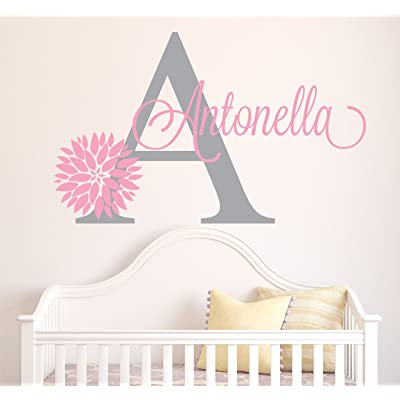 Personalized Flowers Name Wall Decal - Girls Kids Room Decor - Nursery Wall Decals - Flower Decals for Girls Room (30Wx18H) : Baby