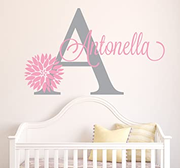 Personalized Flowers Name Wall Decal - Girls Kids Room Decor - Nursery Wall  Decals - Flower...