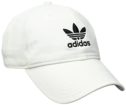 adidas Mens Originals Relaxed Strapback Cap, White/Black, One Size