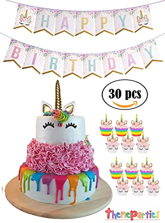 Image Unavailable Not Available For Color Unicorn Cake Topper Cupcake Happy Birthday