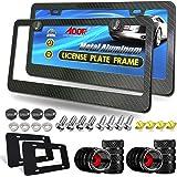 AOOTF Carbon Fiber License Plate Frame- Heavy Duty Black Aluminum Car Tag Cover, 2 Pack Front & Rear Holders Mount Hardware K