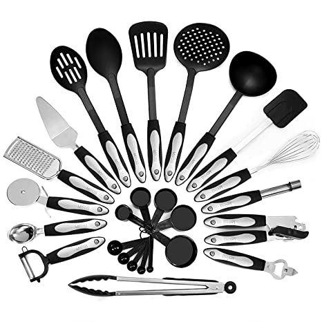 Kitchen Utensil Set | 26 Piece Kitchen Utensils Set Cooking Tools Stainless Steel Nylon Gadgets Includes Turner Tong Spatula Pie Server Pizza Cutter Whisk