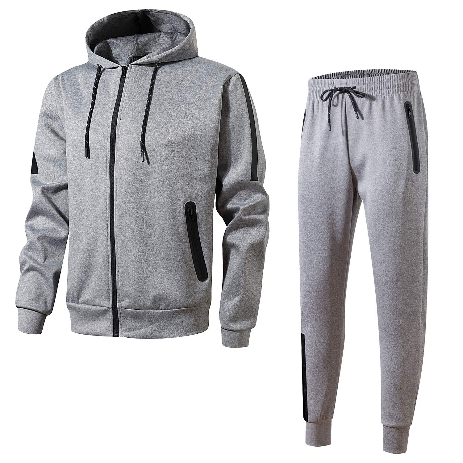 Men's Athletic Casual Pant and Hooded Jacket Sweatsuit Set(L-Grey,S) by URBEX