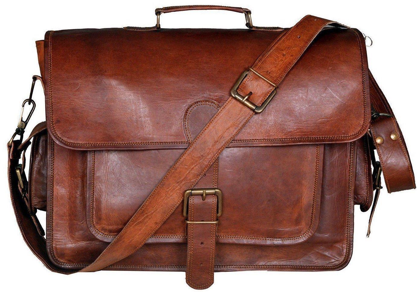 JDM New Mens Genuine Vintage Brown Leather Messenger Shoulder Laptop Bag Briefcase