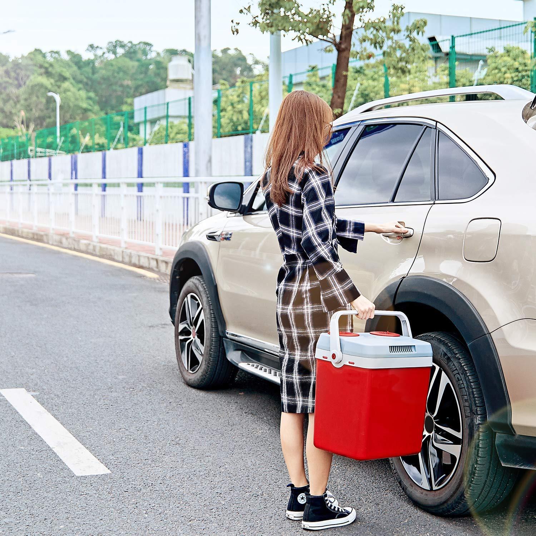 Mini Fridge Electric Cooler and Warmer for Car and Home 27.5 Quart Car Refrigerator with Dual 12V DC & 110V AC, Automatic Locking Handle Portable Car Fridge