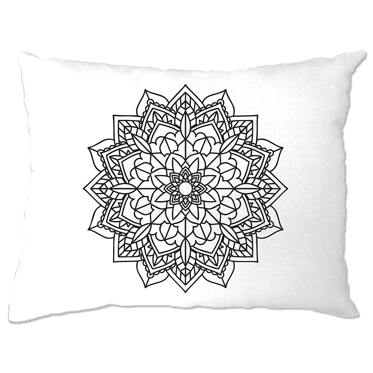 Adult Colouring Pillow Case Simple Mandala [Pens Included] White One Size A-PC-01974-WHT