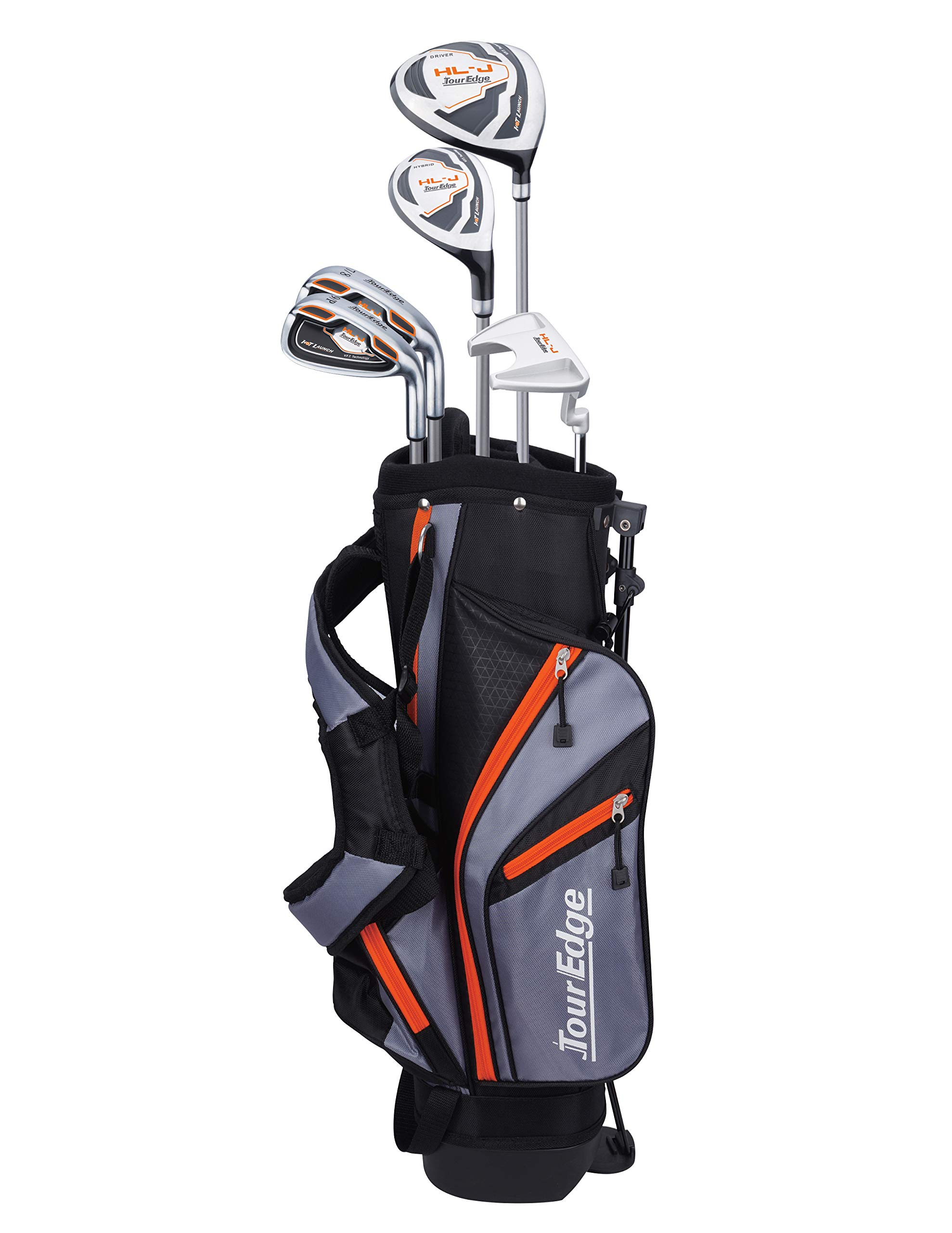 Tour Edge HL-J Junior Complete Golf Set with Bag (Right Hand, Graphite, 1 Putter, 2 Irons, 1 Hybrid, 1 Wood, 5-8 YRS) Orange by Tour Edge (Image #1)