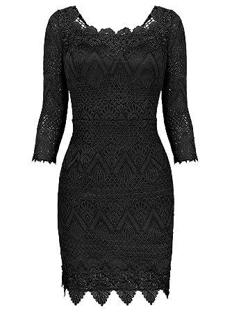 af6204798874 VESSOS Women s Vintage Off Shoulder Lace 3 4 Sleeve Peplum Wedding Evening  Pencil Dress Black