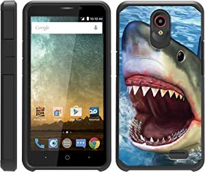 TurtleArmor | Compatible with ZTE Prestige 2 Case | Maven 3 Case | Overture 3 Case | Shockproof Hybrid Impact Armor Slim Case Sea Ocean - Shark Attack