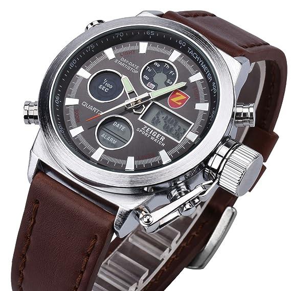 Reloj hombre piel Zeiger Reloj Hombre Marron Reloj Hombre Date Alarm LED Marron Reloj para hombre Mujer Reloj de cuarzo con esfera negro reloj hombre Luxe ...