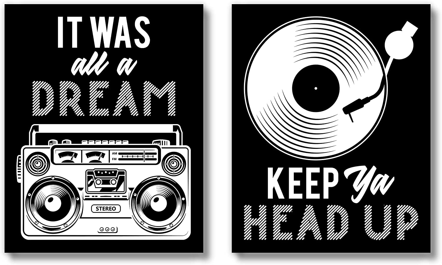 Brooke & Vine Hip Hop Music Posters Wall Art Prints (UNFRAMED 8 x 10 Set of 2) African American Rap Rapper Funny Bathroom Wall Decor, Restroom, Bedroom, Dorm, Office Signs Posters - It Was All A Dream Keep Ya Head Up