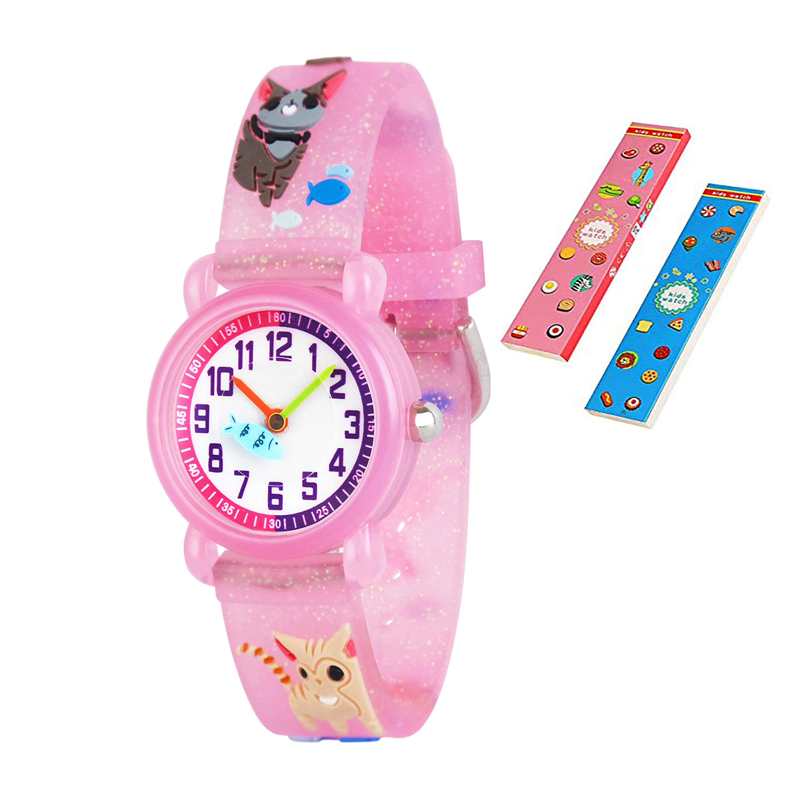 Toddler Kids Children Watch,3D Cute Cartoon Silicone Band Wristwatches Time Teacher Gifts Watches for Kids Girls Toddlers (Pink Cat)