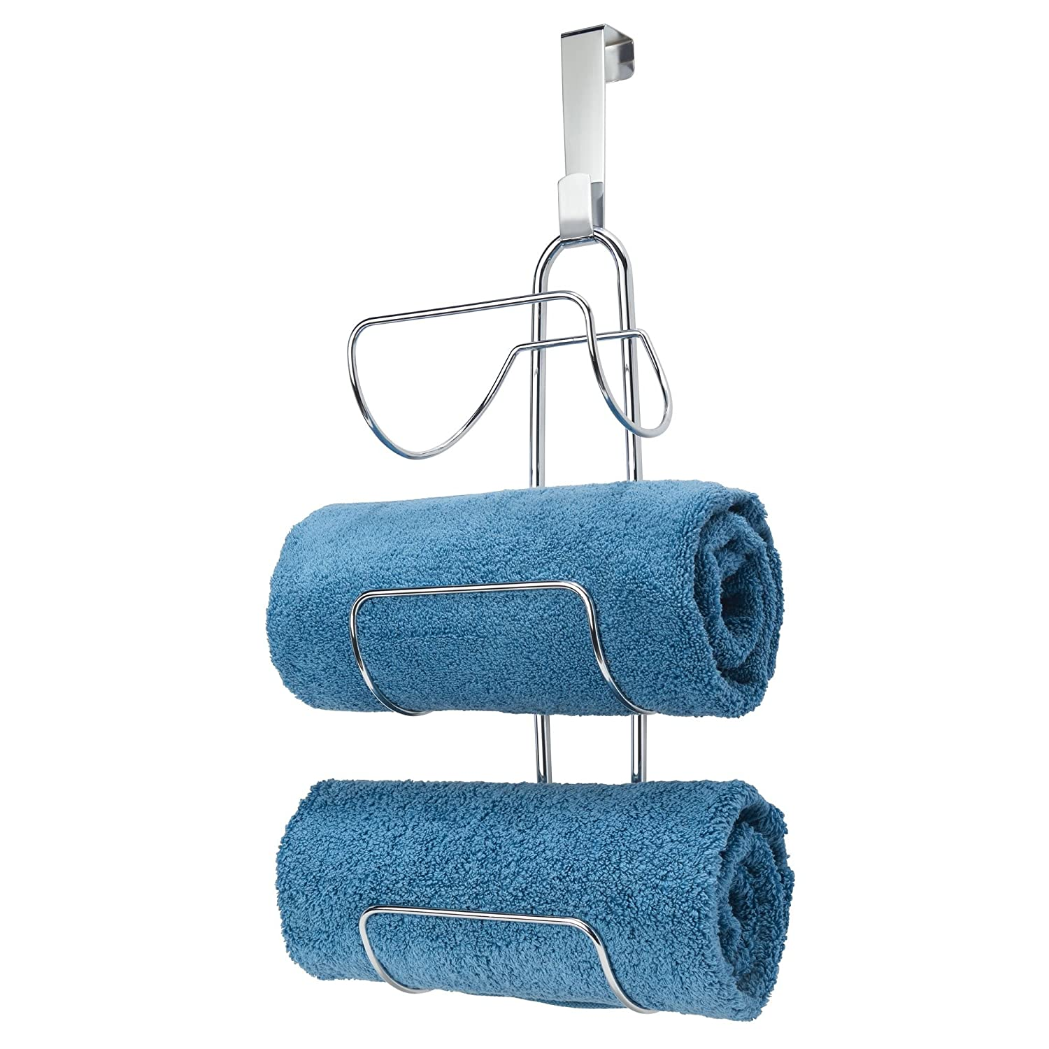 mDesign Wall Mounted Towel Storage Rack - Metal Towel Hanging Rail - Towel Hanger for The Bathroom - Silver MetroDecor