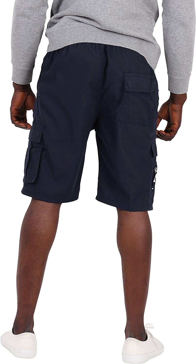 Krisp Menswear Basic Casual Elasticated Summer Beach Cotton Cargo Shorts US
