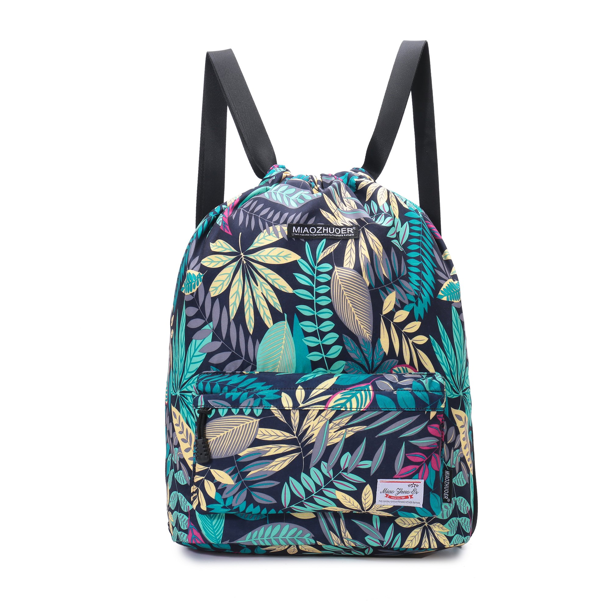 Yinjue Drawstring Backpack Lightweigh Gym Bag Floral Traver Bag for Women Gym Sackpack Yoga (Yellow44)