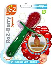 RaZbaby RaZ-Berry Baby's 100% Silicone First Spoon, Green/Red, 1 Count