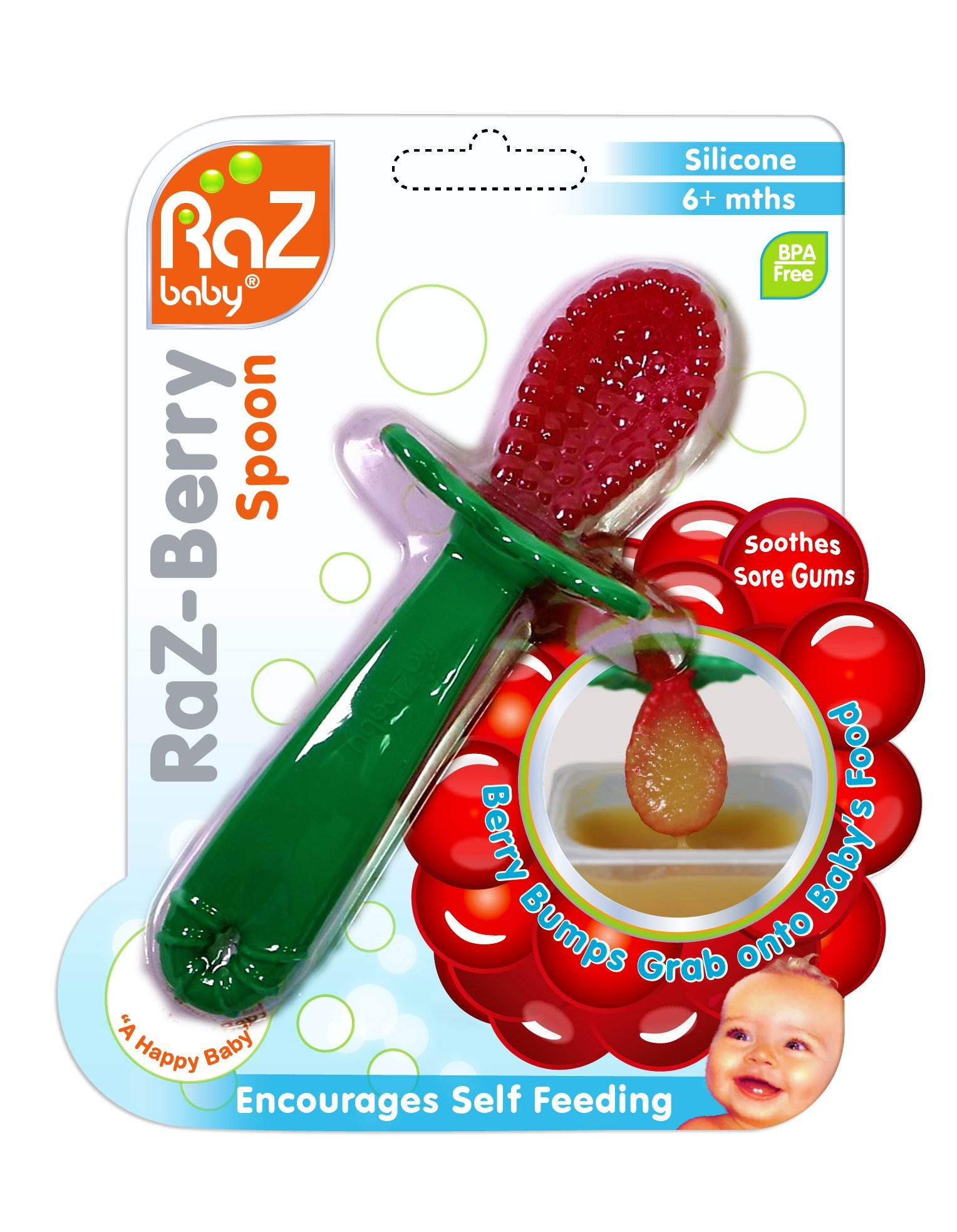 RaZ-Berry Baby Spoon / Baby's First Spoon / 100% Silicone